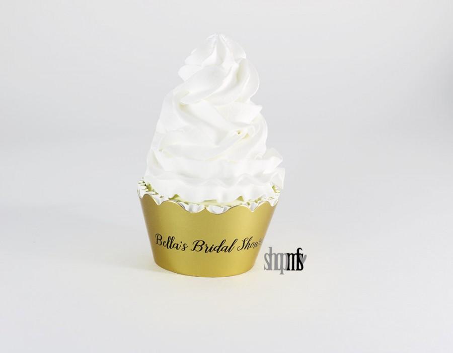 Wedding - Golden Cupcake - Cupcake Wraps - Gold Wrappers - Personalized Cupcake Wrappers - Gold Theme Birthday - Golden Years - Custom Cupcake