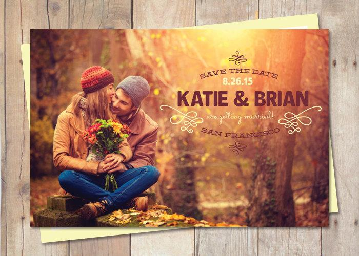 Свадьба - Rustic Save-The-Date, Save The Date Postcard - Sunset
