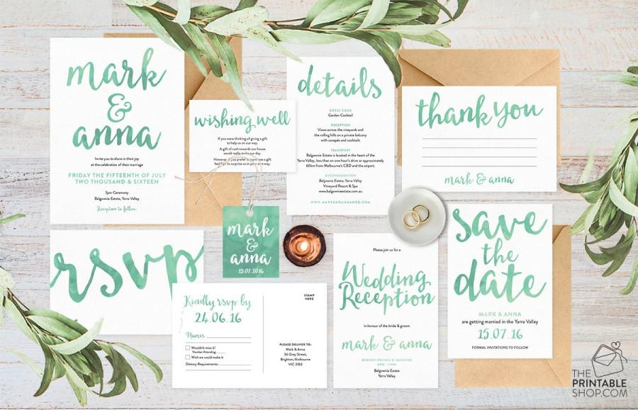 Wedding invitation set wedding invitation suite wedding wedding invitation set wedding invitation suite wedding invitations australia green wedding invitations wedding stationery set junglespirit Choice Image