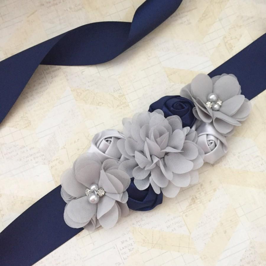 Свадьба - Navy and grey sash,bridal sash,maternity sash,flower girl sash,navy sash,boy maternity sash,blue maternity sash