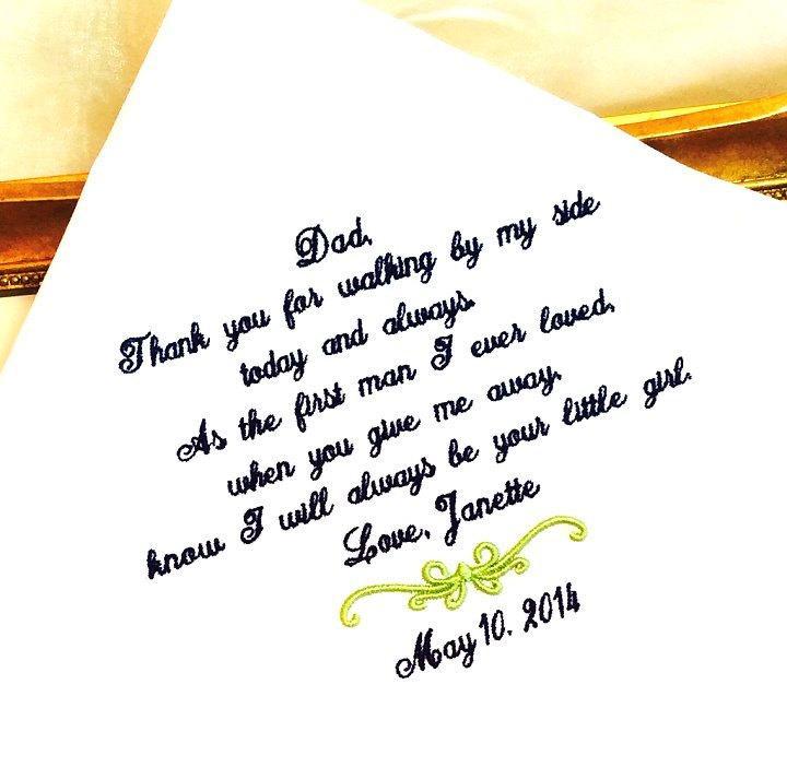 زفاف - Wedding gift  for Father of The Bride Handkerchief - Hanky - WALKING by my side- FIRST MAN I ever loved - Bridal Wedding gift for Dad