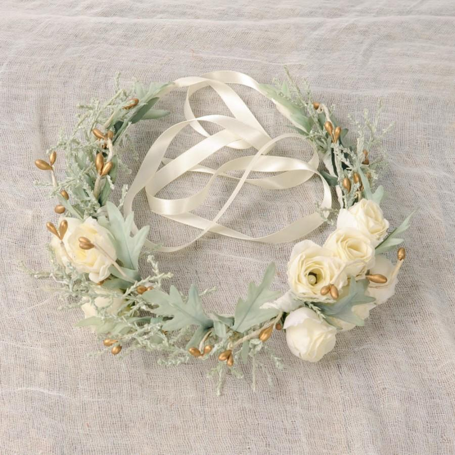 Ivory flower crown spring wedding floral headpiece woodland hair ivory flower crown spring wedding floral headpiece woodland hair piece bridal head wreath christmas holiday sage green gold berries izmirmasajfo