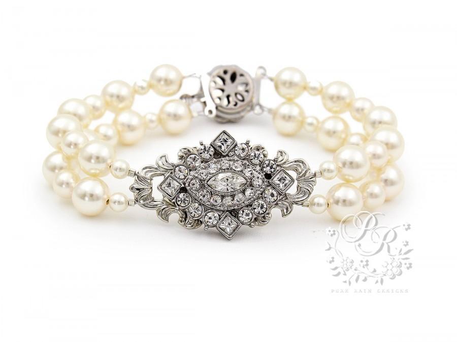 Свадьба - Wedding Bracelet Swarovski Pearl Swarovski Clear Crystal Bracelet Bridal Bracelet Wedding Jewelry Wedding Accessory Bridal Jewelry rhombus