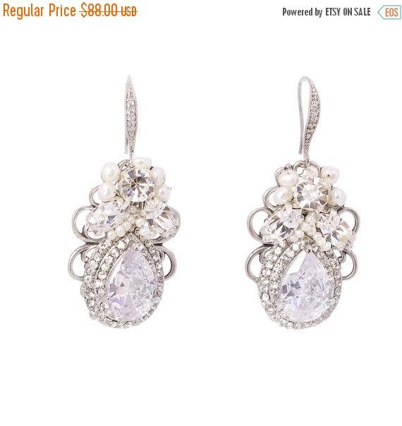 Mariage - Wedding Earrings , Bridal Statement Earrings , Crystal  Pearl Earrings , Vintage Style Bridal Earrings , Wedding Jewelry