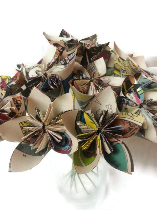"""Hochzeit - SET of 12 with Free Domestic U.S. Ship - Bouquet OOAK """"Comic Inspired"""" Origami Paper Flowers"""