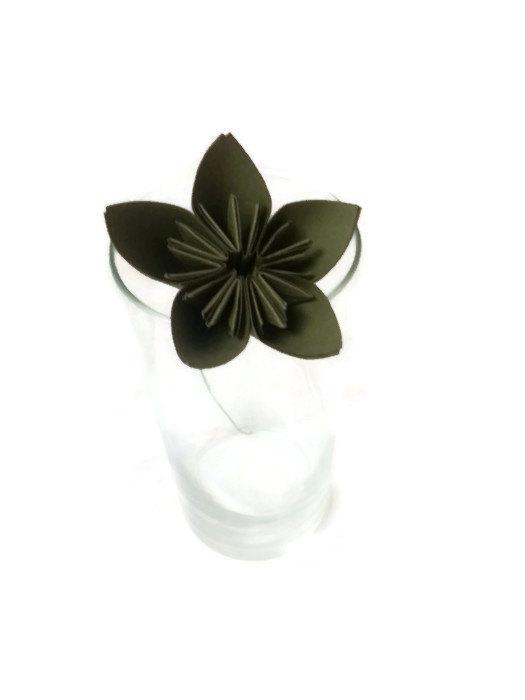 Wedding - Olive Green Color Kusudama Origami Paper Flower with Stem