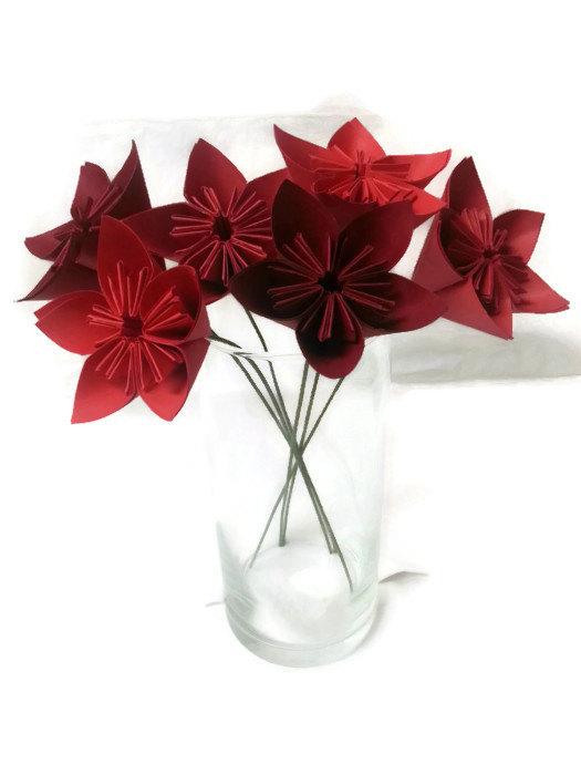 زفاف - Ombre Reds OOAK, Cardstock, Origami Paper Flowers