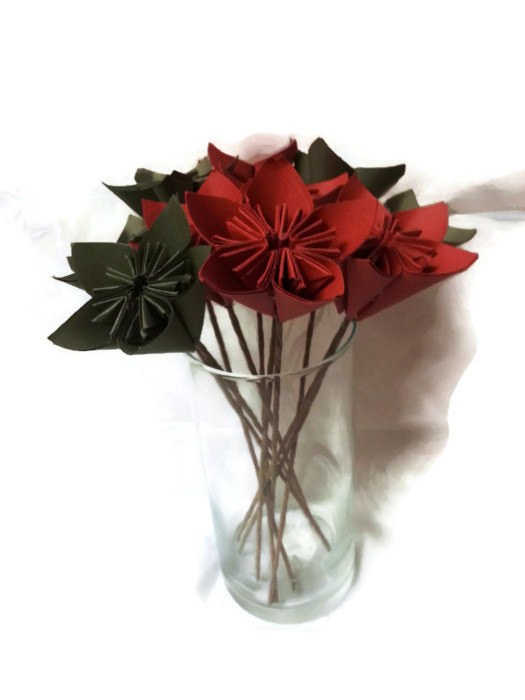"""Wedding - SET of 12 with Free Domestic U.S. Ship - Bouquet OOAK """"Red and Green"""" Origami Paper Flowers"""