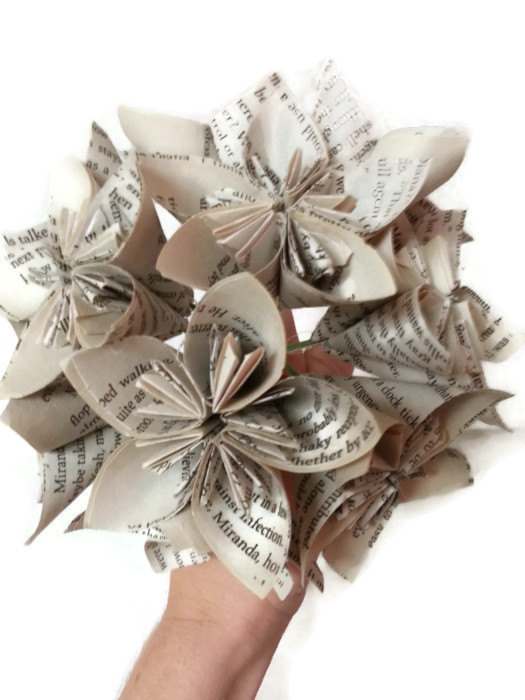 Book paper flower bridal bouquet with wire stems and white silver book paper flower bridal bouquet with wire stems and white silver ribbon mightylinksfo