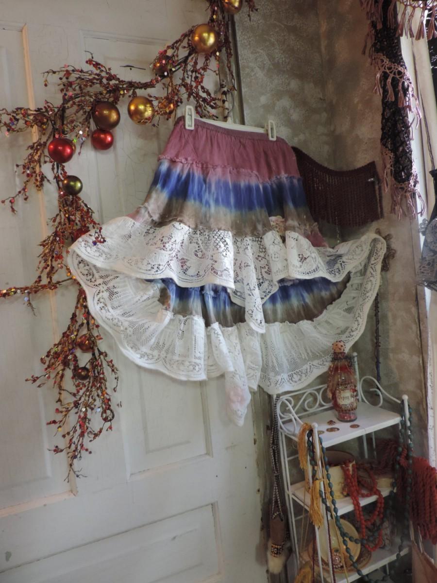 زفاف - victoriantailor.com Gypsy Bohemian Tie Dye Pink Antique Lace Ruffle Skirt, Renaissance, Victorian, Vintage, Dress