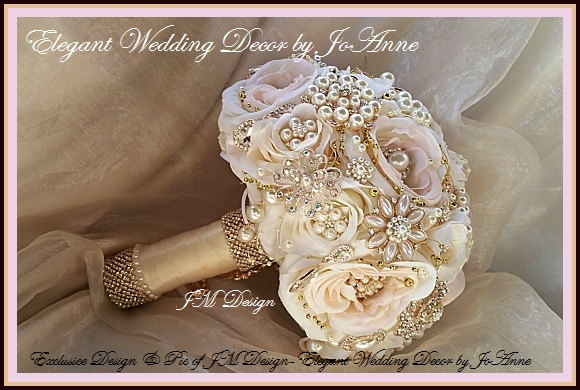 Mariage - Pink and Rose Gold Wedding Bouquet, Rose Gold Brooch Bouquet, Blush Ivory Brooch Bouquet, Pink and Gold Bridal Brooch Bouquet, DEPOSIT ONLY