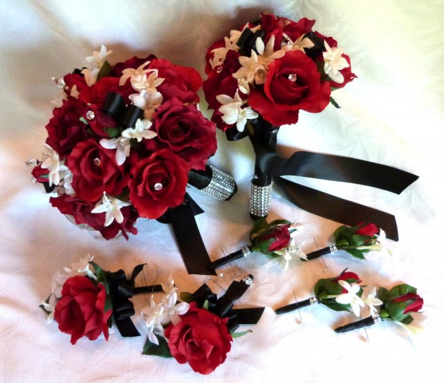 Mariage - Red rose bouquet red white black wedding bouquet and boutonniere package
