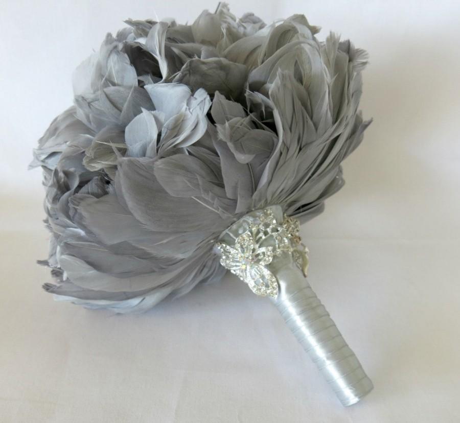 Mariage - Wedding Bouquet, Bridal Bouquet, Feather Bouquet, Brooch Bouquet, Peony Bouquet, Grey, Silver, Rhinestone, Pearl, Elegant Bouquet