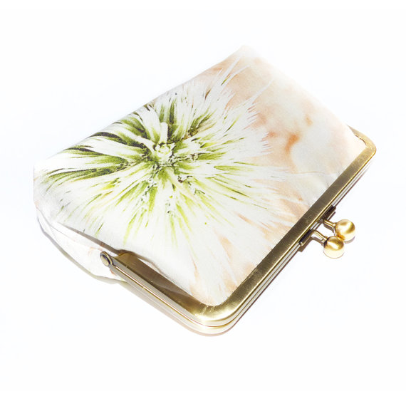 Свадьба - Silk Purse, Bag, Luxury Handmade Clutch, Pale White & Beige Thistle Head, printed silk, gift box, gift, wedding, gift for her,