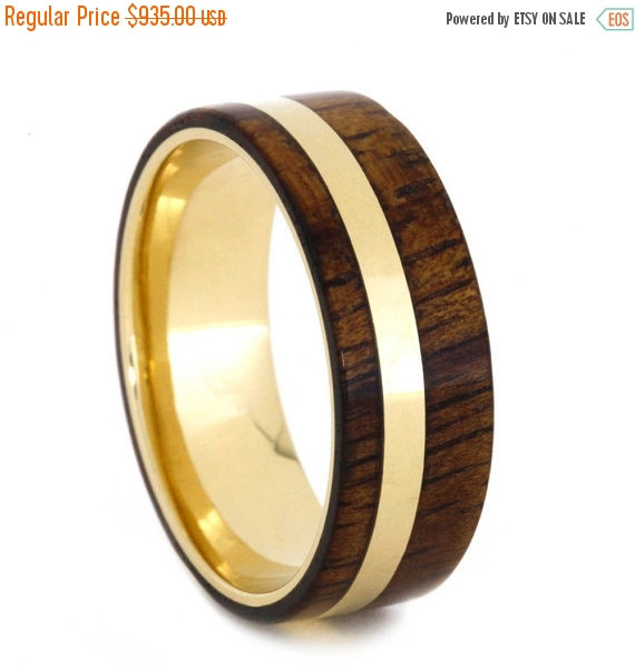 On Sale Koa Wood Ring With Yellow Gold Pinstripe And Sleeve Yellow