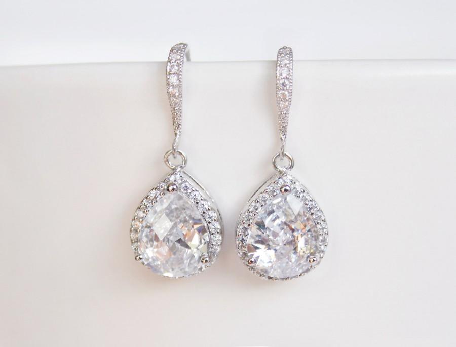 Cubic Zirconia Teardrop Earrings Bridal Sparkly Crystal Silver Bridesmaid Gift Wedding Jewellery