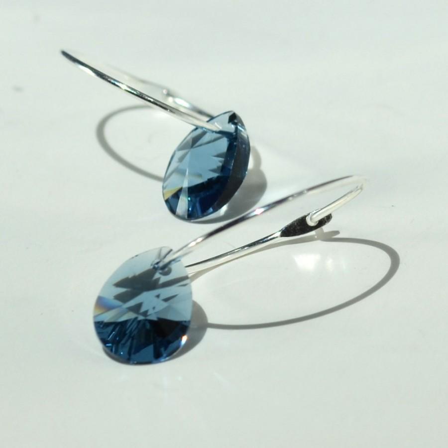 زفاف - Blue Crystal Hoop Earring, Silver Hoops, Swarovski Crystals Denim Blue, Crystal Earrings, Hoop Earrings, Dark Blue Hoops