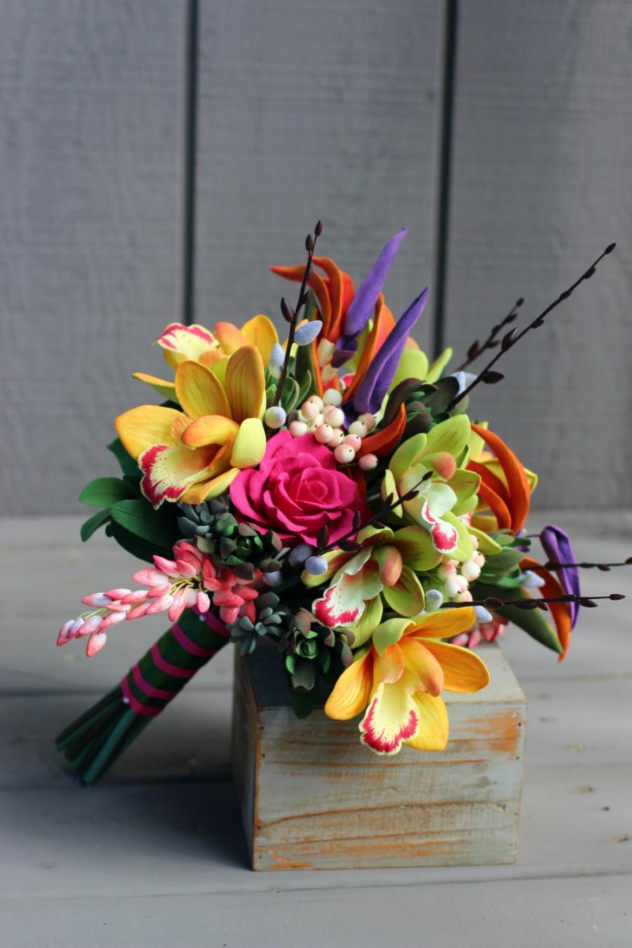Cymbidium Orchids Tropical Bouquet Colorful Birds Of Paradise Destination Wedding