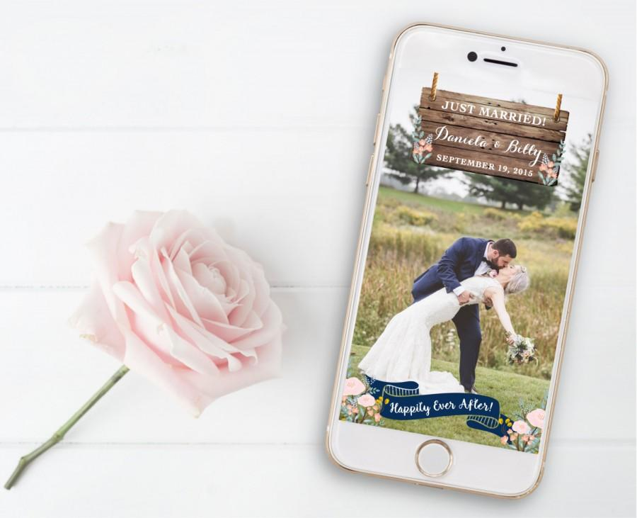 Mariage - Snapchat Geofilter Wedding, Happily Ever After, Just Married, Special Occasion, Rustic, Navy, Wood, Floral, Flowers, Banner