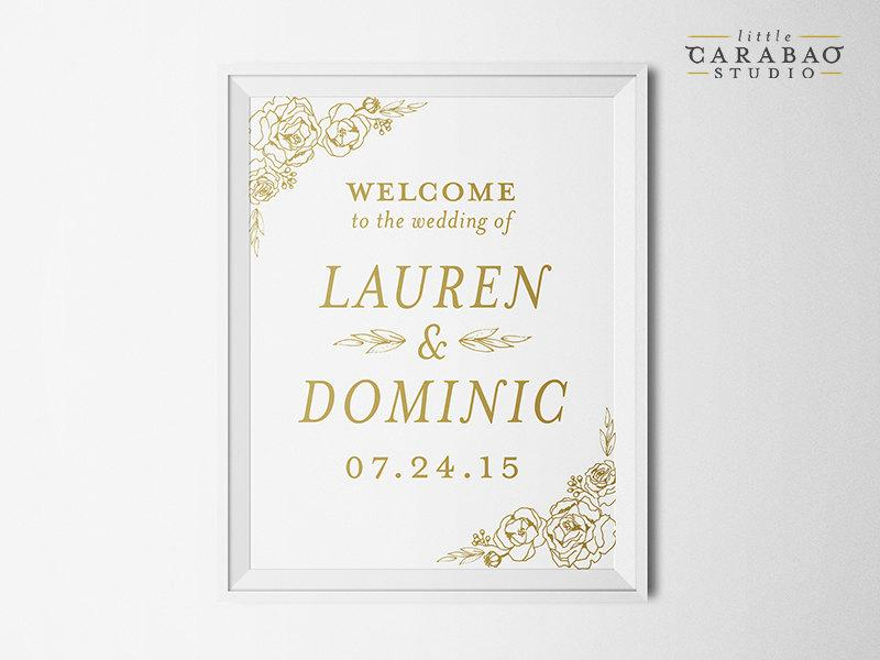 Mariage - DIGITAL Floral Wedding Welcome Sign Floral PRINTABLE Reception Sign Custom Wedding Sign - Little Carabao Studio -