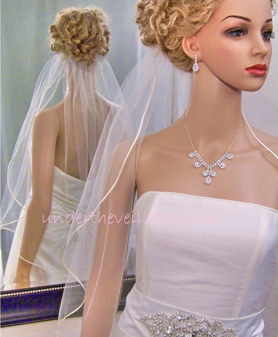 Mariage - Wedding Veil SATIN, 1/8 Ribbon Edge Veil, ELBOW Waist Length, 1 Tier, All Colors
