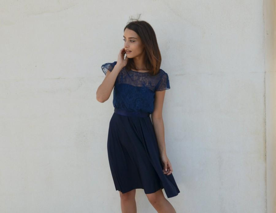 Hochzeit - Blue bridesmaid dress knee length, lace top, lace blouse ,full circle skirt