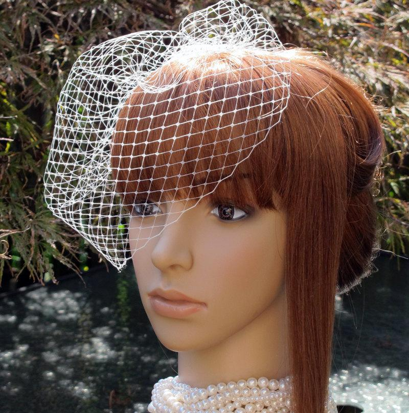 Mariage - Ivory Birdcage Veil Wedding Bridal Blusher 9 inches Russian Net with 4 Inches Loose