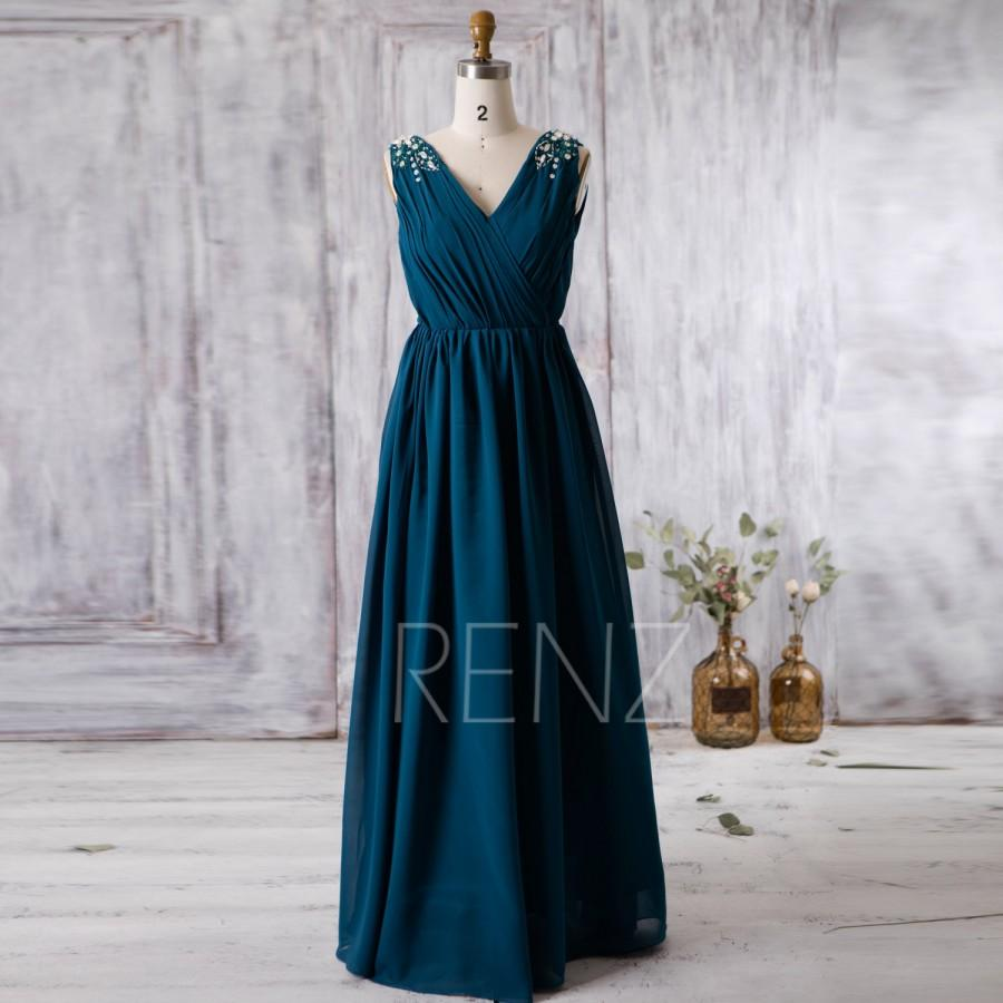 Düğün - 2016 Ink Blue Bridesmaid Dress Long, V Neck Chiffon Wedding Dress with Beading, Open Back Prom Dress, Evening Dress Floor Length (G187)