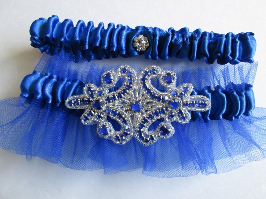 Royal Blue Wedding Garter Set, Something Blue Garter With Crystals ...