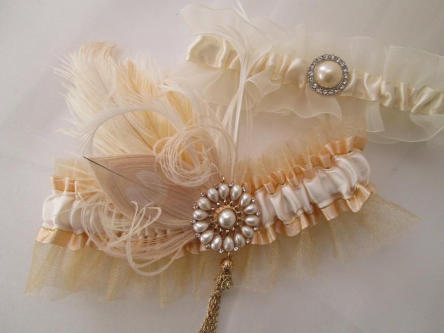 Wedding - Wedding Garter Set, Gold & Ivory Pearl Garters, Gold Garter, Rustic Garter, Vintage Prom Garters, 20s Gatsby Bride