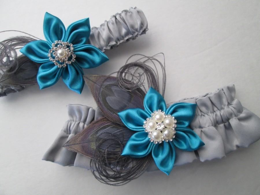Teal Amp Gray Wedding Garter Set Turquoise Blue Garters Silver Peacock Feather Garters Gray