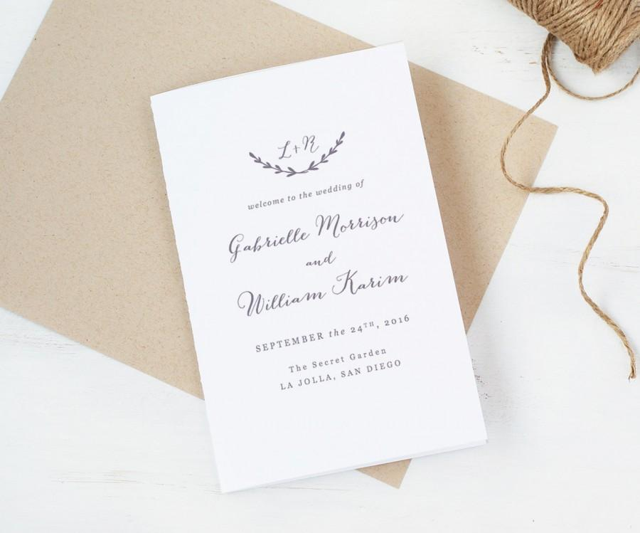 Свадьба - Wedding Programs Template,Printable Folded Programs, Editable Artwork and Text Colour, Edit in Word or Pages