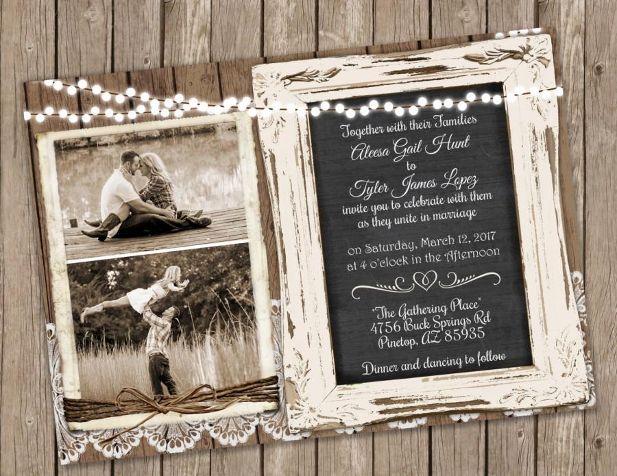Свадьба - Wood and Lace Wedding Invitation – Chalkboard Wedding Invitation - Printable Rustic Wood Invite with Photo 5x7
