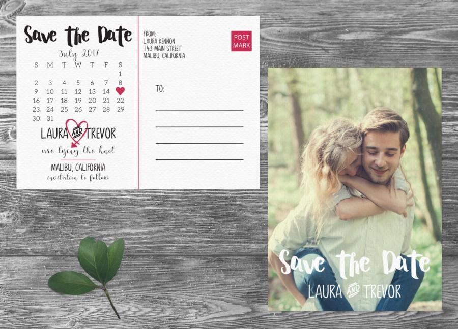Свадьба - Calendar Save The Date Postcard, Postcard Save the Date, Photograph Save the Date, Custom Personalized, Engagement Announcement Card- Malibu