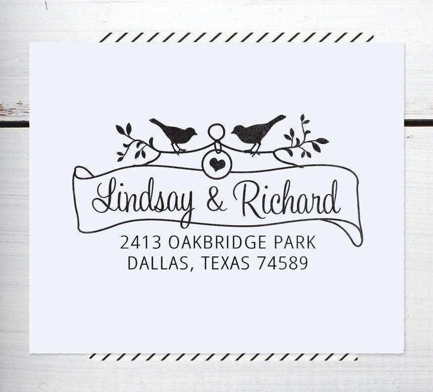 Свадьба - Custom Address Stamp, Return Address Stamp, Rustic Wedding stamp, Calligraphy Address Stamp, Self inking or Eco Mount stamp - Bird & Banner