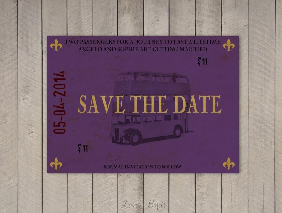 Свадьба - Wedding invitation Harry Potter - Save the Date Knight Bus - Digital file