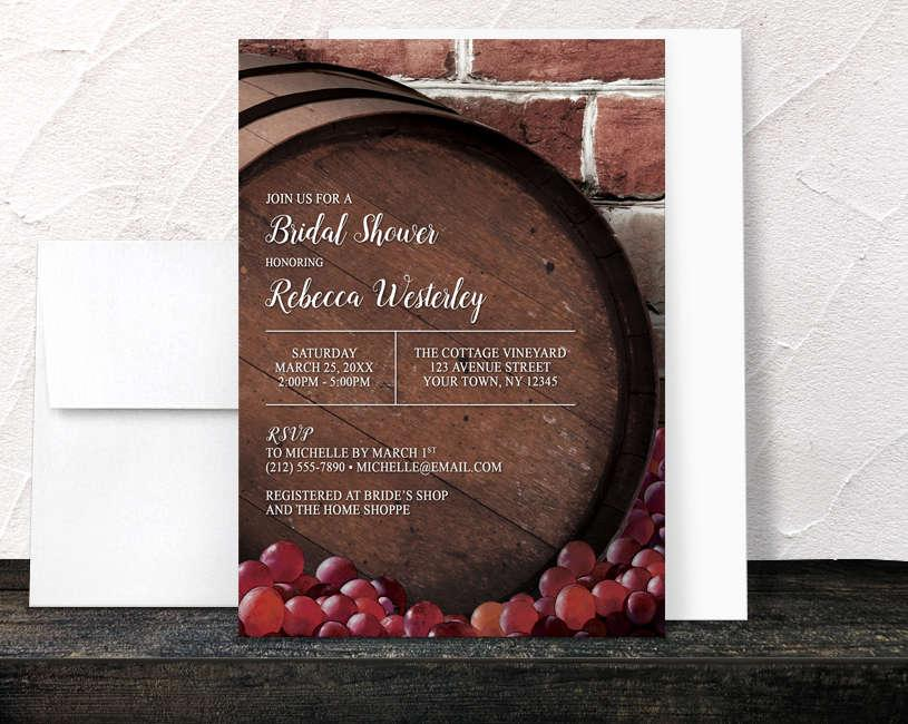Свадьба - Rustic Wine Barrel Vineyard Bridal Shower Invitations - Country Winery Grapes Brick - Printed Invitations