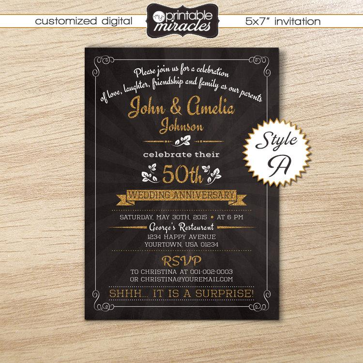 Свадьба - Surprise anniversary invitation, Printable anniversary invite, Chalkboard gold wedding anniversary invitation card