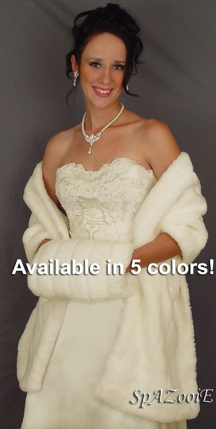 Свадьба - Faux fur mink wrap stole shawl shrug bridal long wedding cover up FW102 AVAILABLE in white, ivory, black, brown, pink