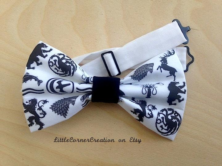 Wedding - Adjustable strap bowtie.Wedding bow tie.Girls hair bow.Mens Bowtie.Game of Thrones Bowtie.Geeky Hair bow