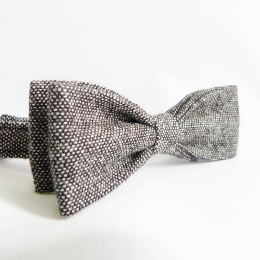 Свадьба - Skinny Bow Tie - Black/Grey Tweed