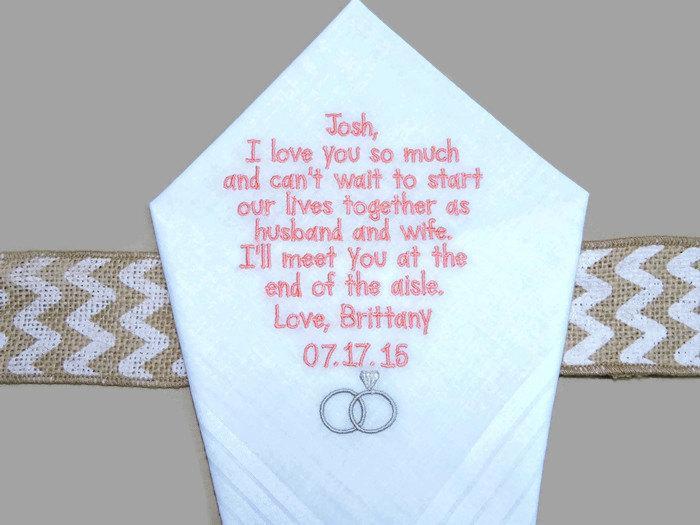 "Hochzeit - Personalized GROOM gift from BRIDE ""I love you so much"" Wedding Handkerchief"