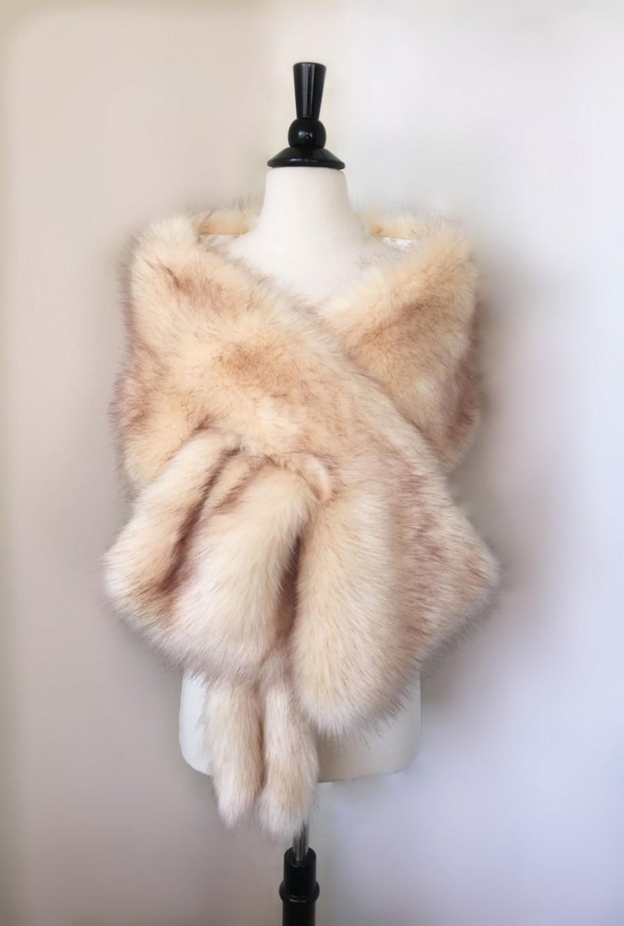 White Fur Stole >> Champagne Faux Fur Bridal Wrap Wedding Fur Shrug White Fur Wrap