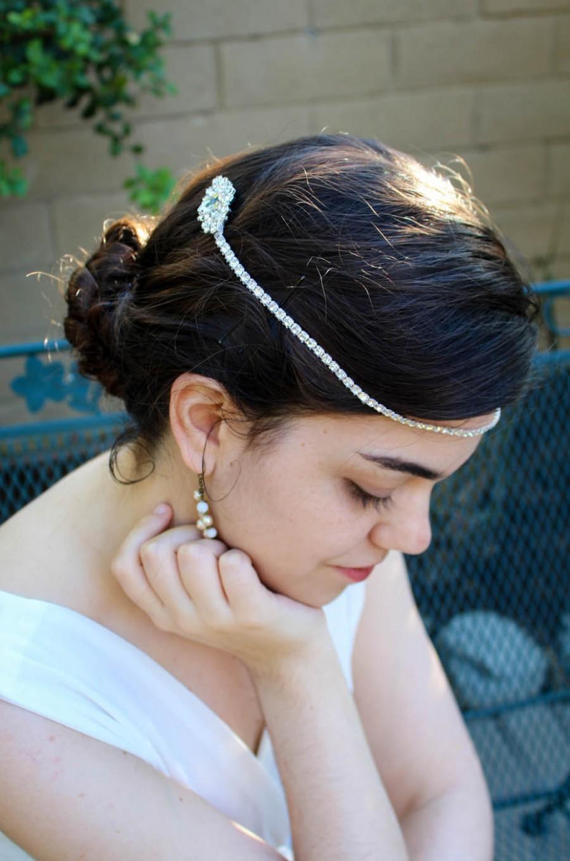 Hochzeit - Bridal Hair Chain, Hair Jewelry, Wedding Hair Wrap Rhinestone Hair Chain, Silver Crystal Hair Comb Wedding Hair Comb, Wedding Hair Chain