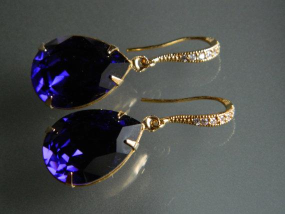 Wedding - Dark Violet Crystal Earrings Vermeil Gold CZ Purple Earrings Swarovski Purple Velvet Rhinestone Wedding Violet Gold Teardrop Dangle Earrings