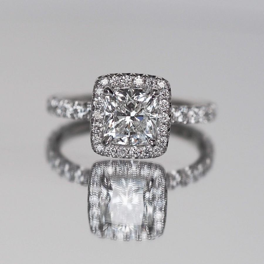 Cushion Cut Engagement Ring With Diamonds On Halo Facing Up And Sideways  And On Band Micro Pave Hand Set Diamond Engagement Ring, Cushion