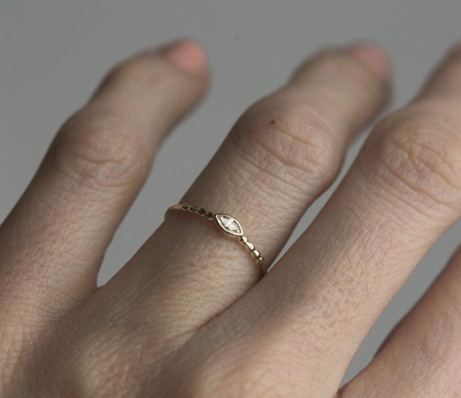 Wedding - Marquise Diamond Ring, Sideways Diamond Ring, Horizontal Diamond Ring, Modern Diamond Band, Skinny Diamond Ring, Yellow Gold Engagement Ring