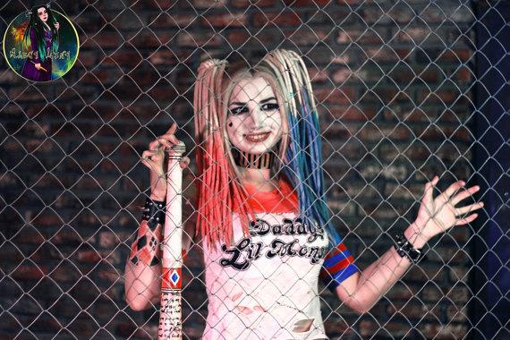 Wedding - Set of wool DE dreads Halloween dreadlocks Harley Quinn full set dreads dreads accessories hair extensions