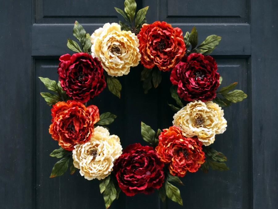 Wedding - Fall Front Door Wreath, Thanksgiving Wreath, Fall Floral Wreath, Fall Wreath, Fall Door Wreath, Autumn Door Wreathe, Peony Wreath