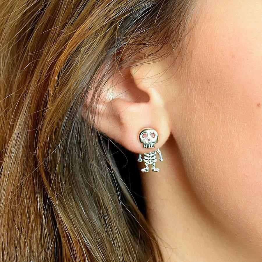 Sterling Silver Skeleton Studs , Skeleton Earrings